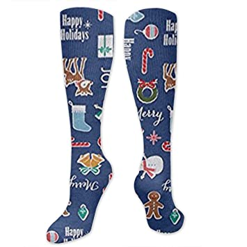 8dbd6f3cc4 KIOT156 Happy Christmas Holiday Compression Socks Knee High Socks Training  Socks Soccer Socks for Men &