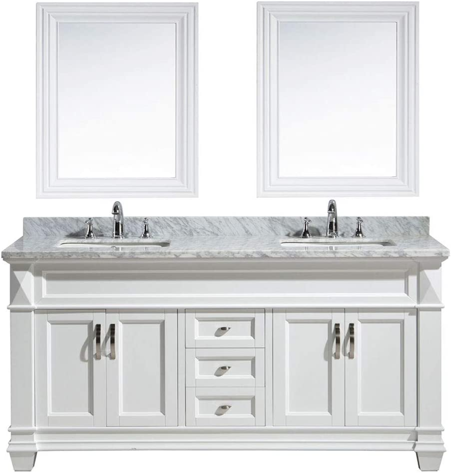 Design Element Hudson 71-inch 71 Bathroom Vanity Set with Marble Stone Countertop, Porcelain Single Sink, and Matching Mirror White