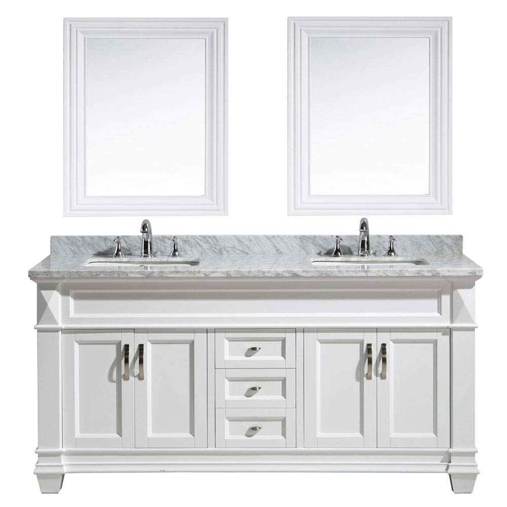 Magnificent Design Element Hudson 71 Inch 71 Bathroom Vanity Set With Marble Stone Countertop Porcelain Single Sink And Matching Mirror White Home Remodeling Inspirations Cosmcuboardxyz