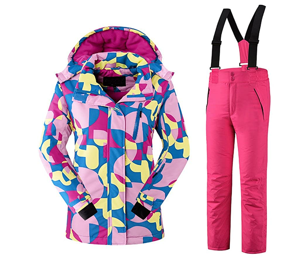 Tortor 1bacha Kid Girls Windproof Waterproof Print Hooded Ski Jacket Snow Pant Set KQL7080
