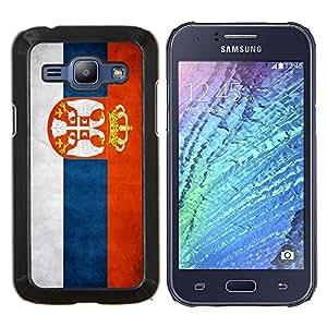 YiPhone /// Prima de resorte delgada de la cubierta del caso de Shell Armor - Nacional bandera de la nación País Serbia - Samsung Galaxy J1 J100