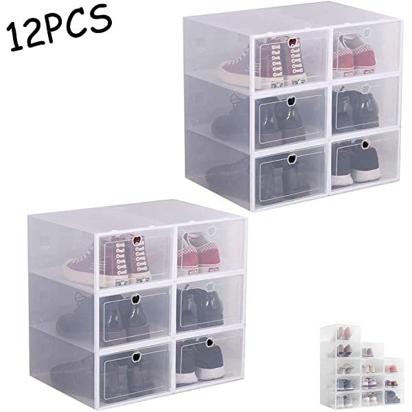 TOPBATHY 10pcs Plastic Shoe Boxes Stackable Portable Storage Case Organizer Dustproof Sneaker Display Box Bin with Round Hole White