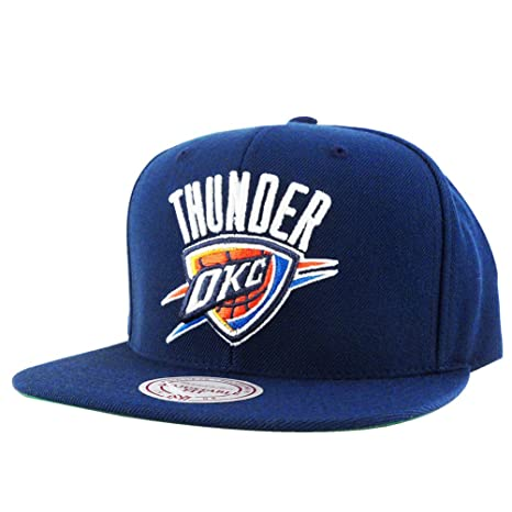 hot sale online 39bb6 1ecea Mitchell N Ness OKC Thunder Navy Blue Team Logo Snapback Hat Cap