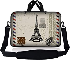 LSS 15.6 inch Laptop Sleeve Bag Compatible with Acer, Asus, Dell, HP, Sony, MacBook and more | Carrying Case Pouch w/ Handle & Adjustable Shoulder Strap, Paris Design