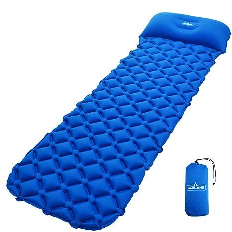 Acelane Inflatable Air Camp Pad Colchón Ligero para Dormir con Almohada Compacto para Acampar Mochilero Senderismo