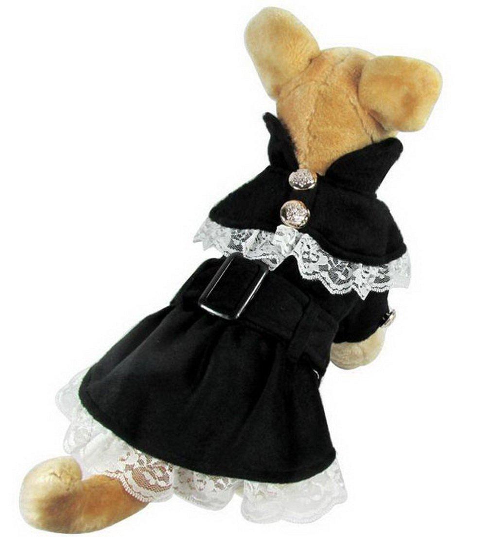 SELMAI Princess Dog Dress Parka Jacket Girl Dog Coats Pleated Lace Small Pet Clothes Black M