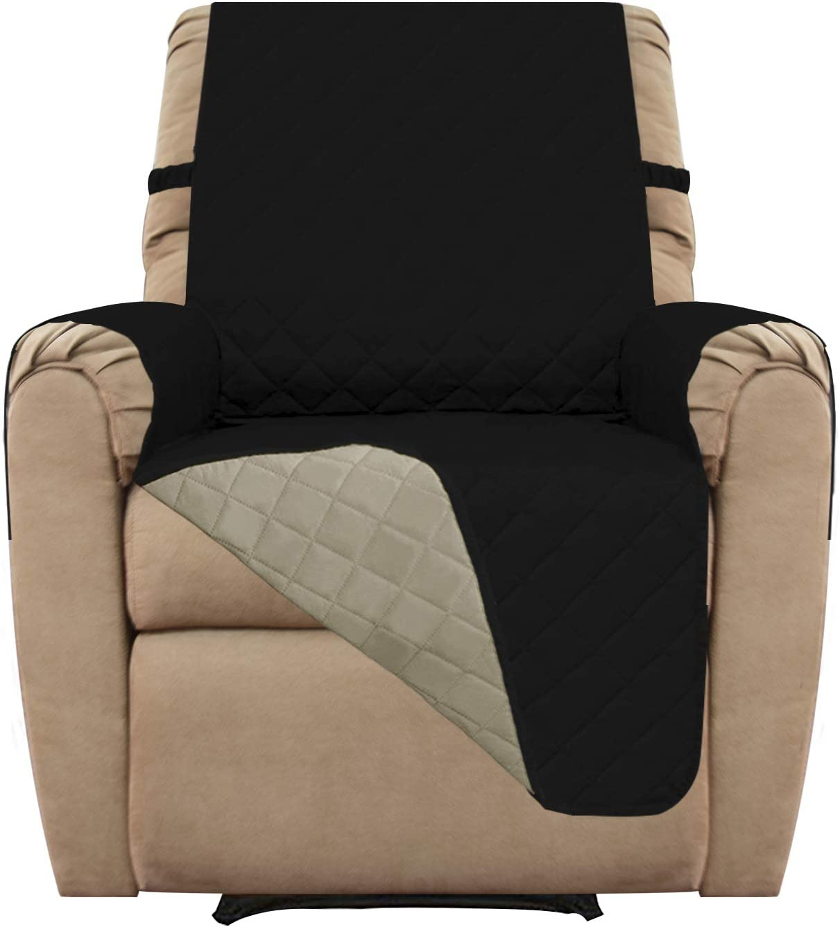 Easy-Going Recliner Cover Sofa Slipcover Reversible Sofa Cover Furniture Protector Couch Cover Water Resistant Elastic Straps PetsKidsChildrenDogCat(Recliner,Black/Beige)