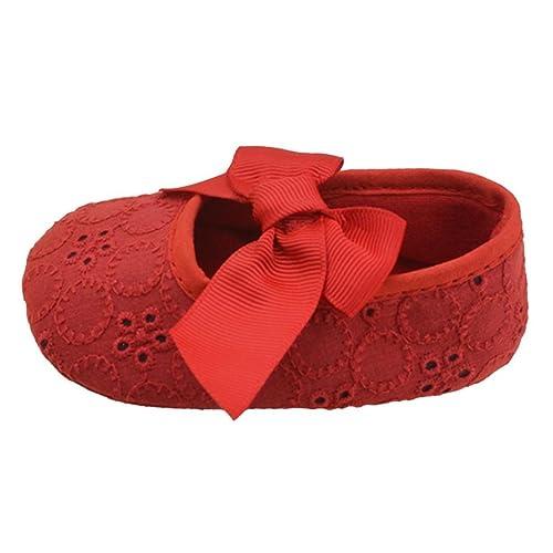 Malloom Bebé Algodón de Las Muchachas del Bowknot de La Cinta Inferior Suave Zapatos de La Flor de Prewalker (6-12 Meses (12cm), Amarillo)