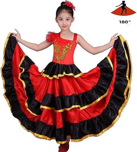 SMACO Niña Traje de Flamenca Danza del Vientre Falda de Gasa Gran ...