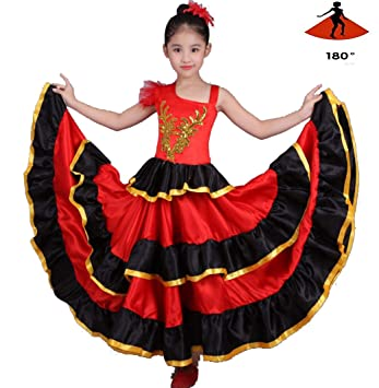 SMACO Niña Traje de Flamenca Danza del Vientre Falda de ...