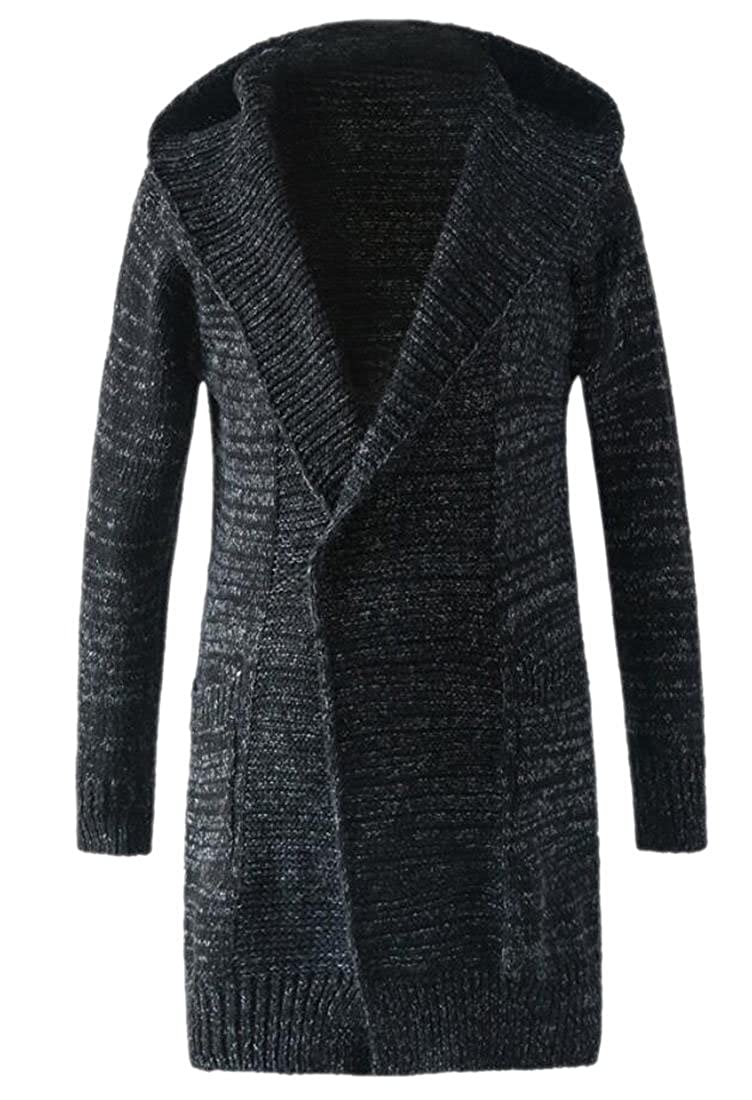 WSPLYSPJY Mens Slim Fit Knit Longline Cardigan Sweater with Hooded