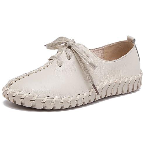 Shenn Mujer Slip Stitch Cordones Linda Cuero Zapatillas Moda Zapatos (Blanco,EU36)