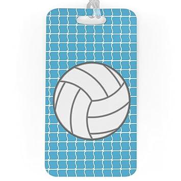 daa60a65df8 Amazon.com | Volleyball Luggage & Bag Tag | Volleyball Net Pattern | Custom  Info on Back | LARGE | CAROLINA | Luggage Tags