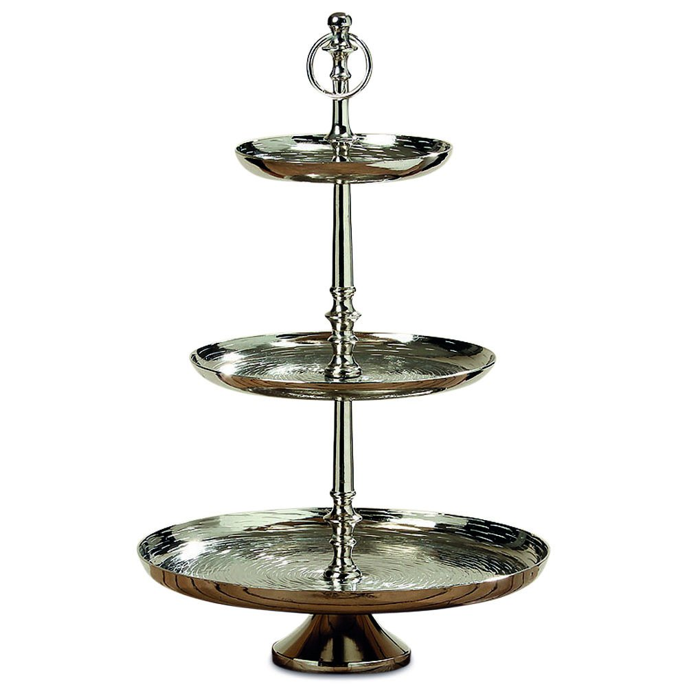 Whole House Worlds The Old World Grand Hotel Cake Stand, 3 Tiers, Polished Silver Aluminum, Luxurious Style, Pedestal Base, Over 1 1/2 Ft Tall, By