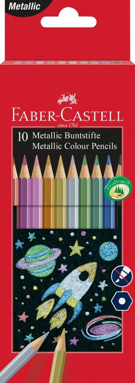 Faber-Castell 201583 - Lápices de colores metálicos (10 unidades): Amazon.es: Oficina y papelería