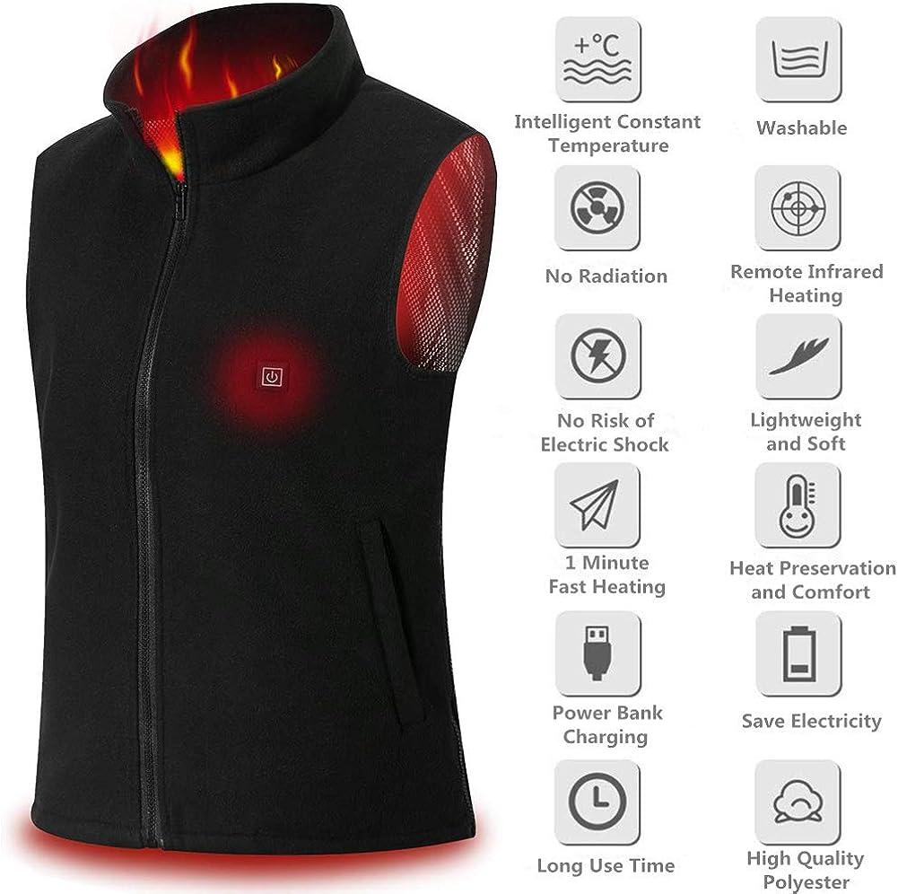 Cenow Heated Vest Polar Fleece Lightweight Waistcoat and Gray USB Electric Heated Jacket