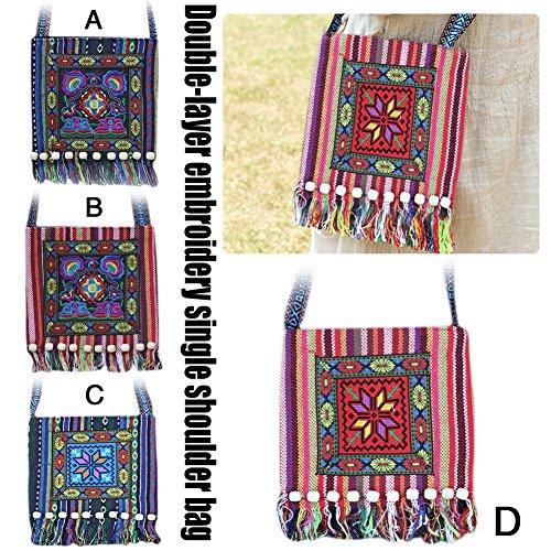 de Mano bolsillos Flower Octagonal Lienzo 29 bolsas clásico pequeño Hombro para bordado nbsp;cm 33 bolso nbsp; hombro para mujer D mujer chica bolsillos red Flores qWSz86