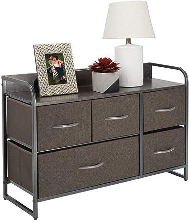 mDesign Cómoda para dormitorio con 5 cajones – Mueble con cajones ancho para el salón, la habitación o el pasillo – Cajonera de metal, MDF y tela para guardar ropa – gris: Amazon.es: Hogar