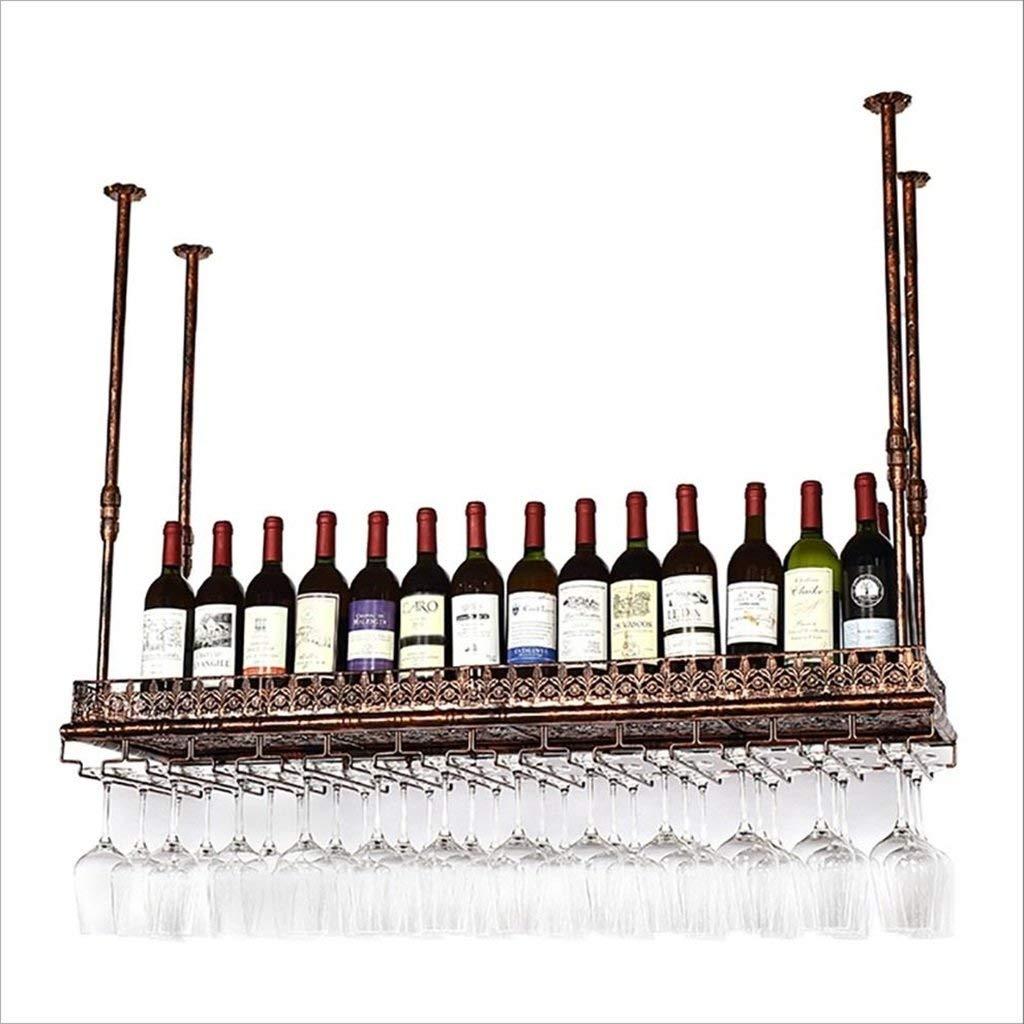 6035cm Red Wine Shelf Wine Glass Holder, Vintage Wine Glass Rack Wrought Iron Wine Glass Holder, Hanging Champagne Glass Holder(Brown) (Size   60  35cm)