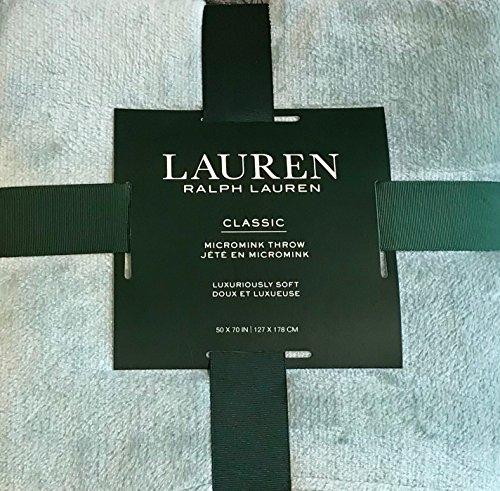Ralph Lauren Classic Luxurious Soft Micromink Monogrammed Throw Blanket - Light Seafoam Mint 50 x 70 inch