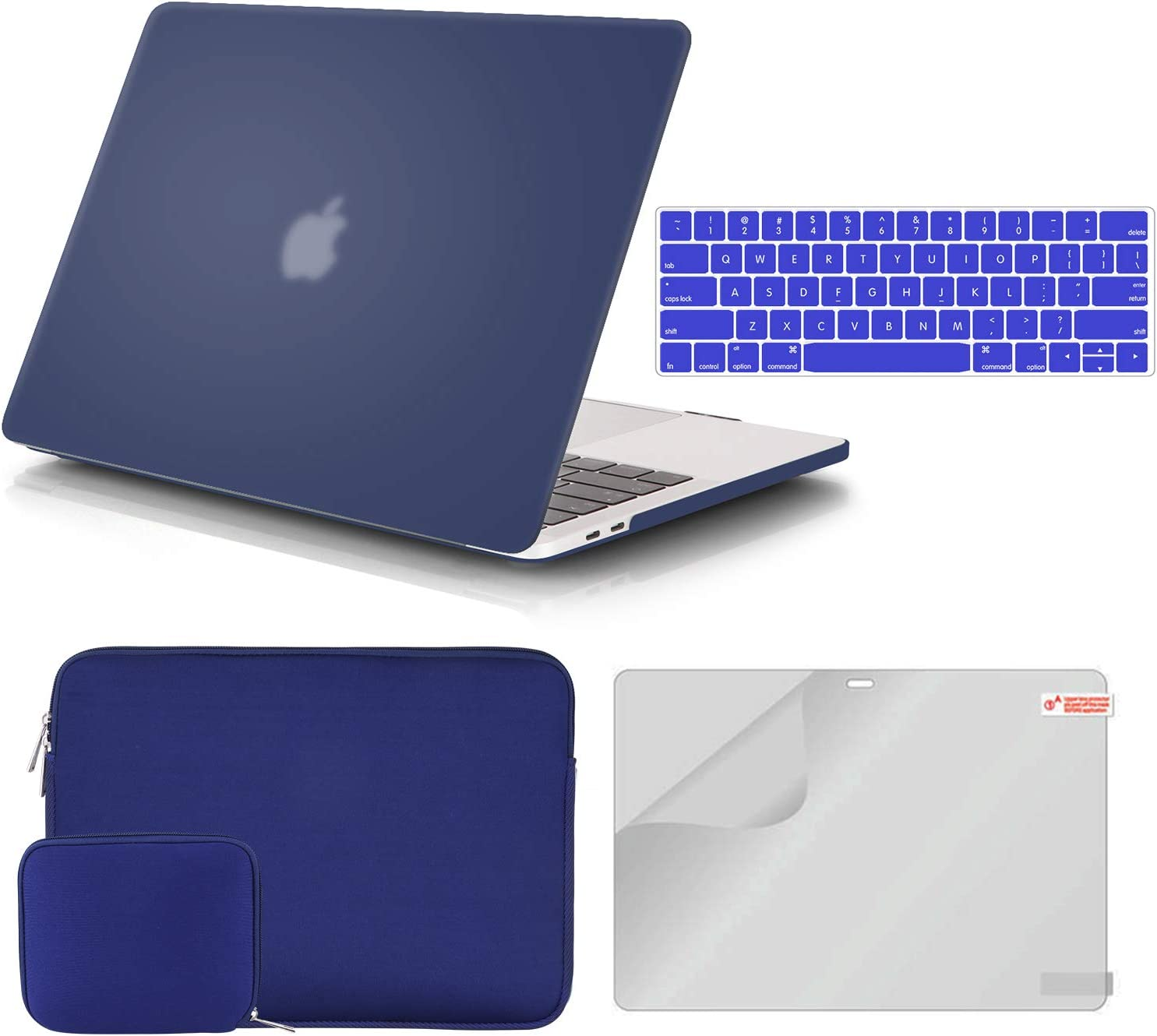 iCasso MacBook Air 13 Inch Case A1932 Bundle 4 in 1, Plastic Hard Shell Case, Sleeve, Screen Protector, Keyboard Cover and Small Pouch Compatible 2020 2019 2018 MacBook Air 13 Touch ID - Navy Blue