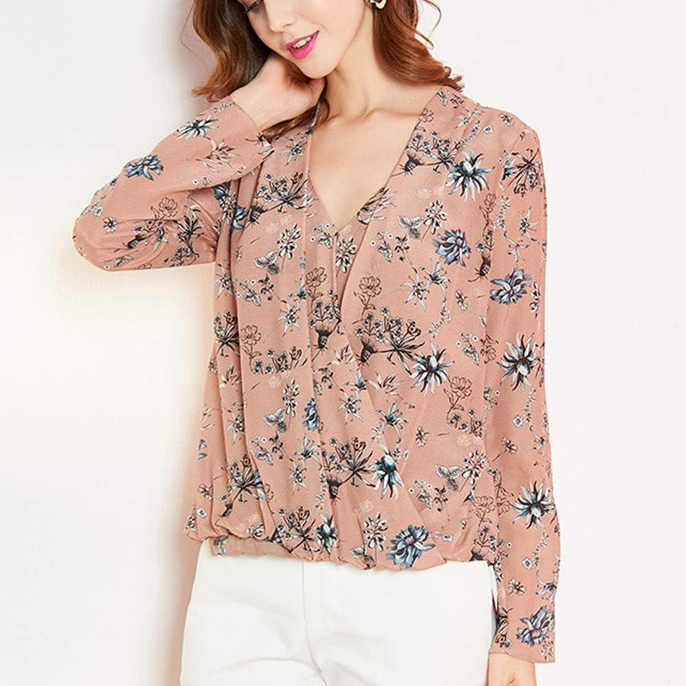 Valin V7121 Silk Women Top V Neck Long Sleeve Slim Shirt Silk Shirt Top Beige