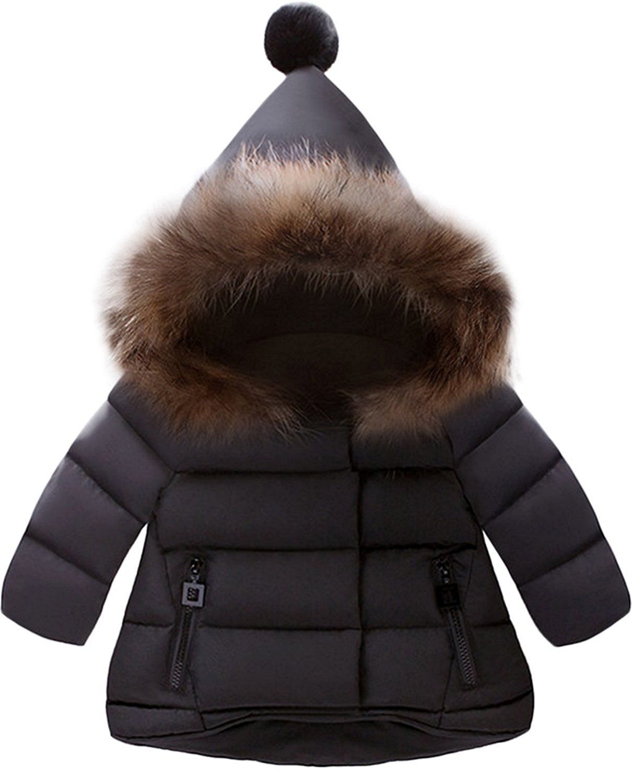 Jojobaby Baby Boys Girls Hooded Snowsuit Winter Warm Fur Collar Hooded Down Windproof Jacket Outerwear (6-12 Months, Black) by Jojobaby (Image #1)