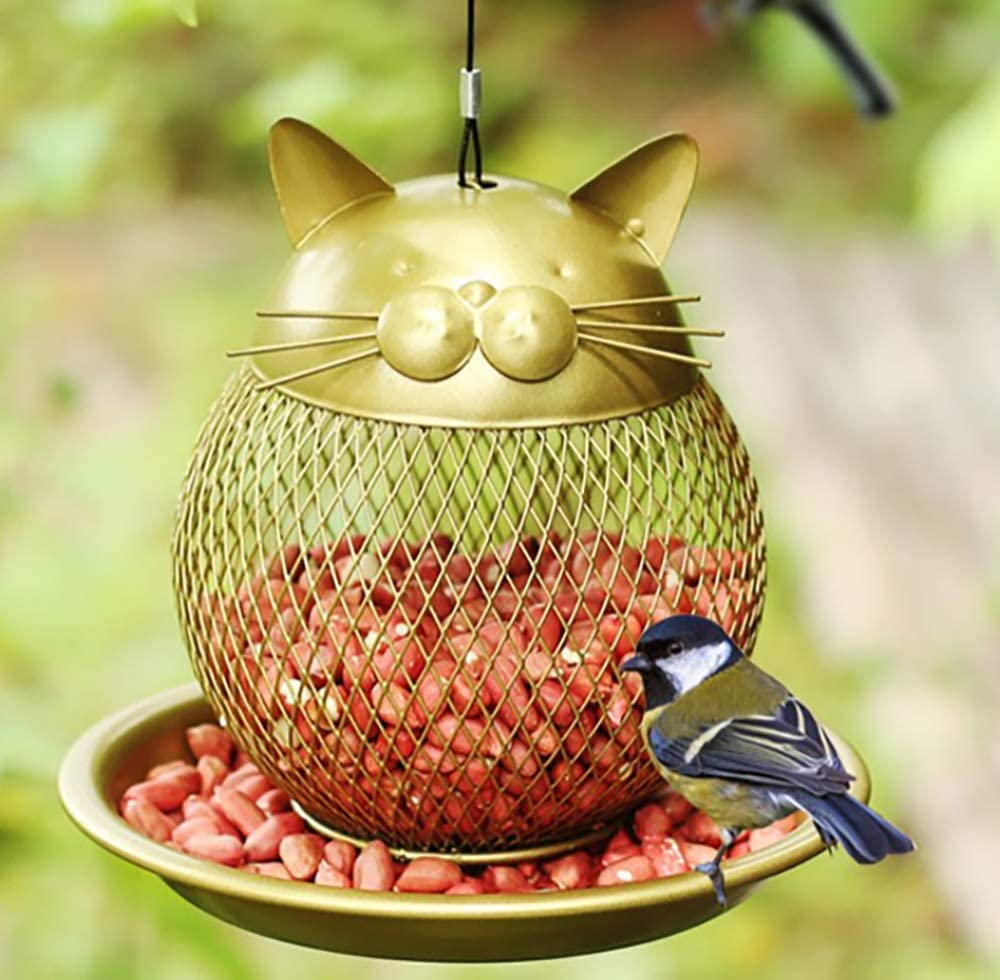 NBHUZEHUA Metal Mesh Wild Finch Squirrel Proof Bird Feeder for Outside Hanging Cat Shaped Yard Garden Decor