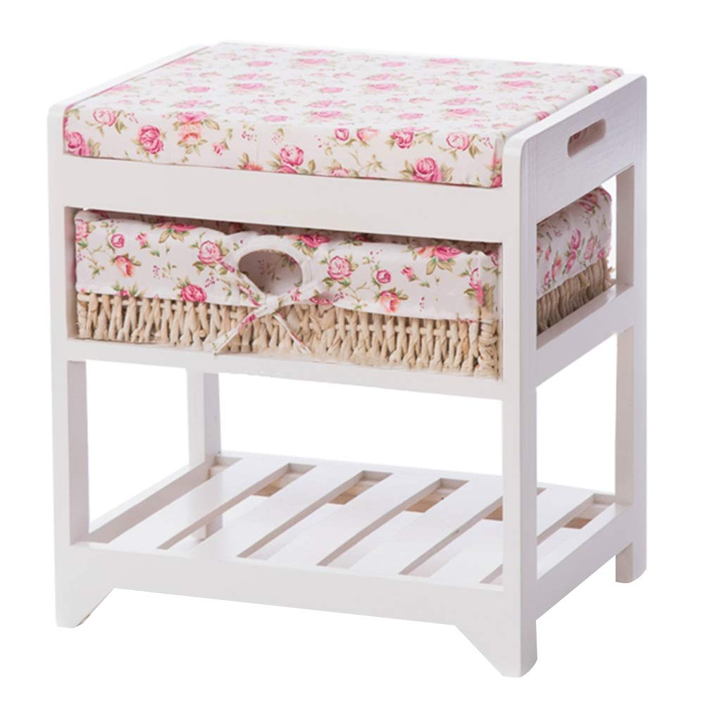 Multi-colord 42x32x45cm CAIJUN Footstool shoes Shelf Rack Solid Wood Thick Cotton Pad Storage Washable No Need to Install, 3 colors, 3 Sizes (color   White, Size   80x34x45cm)