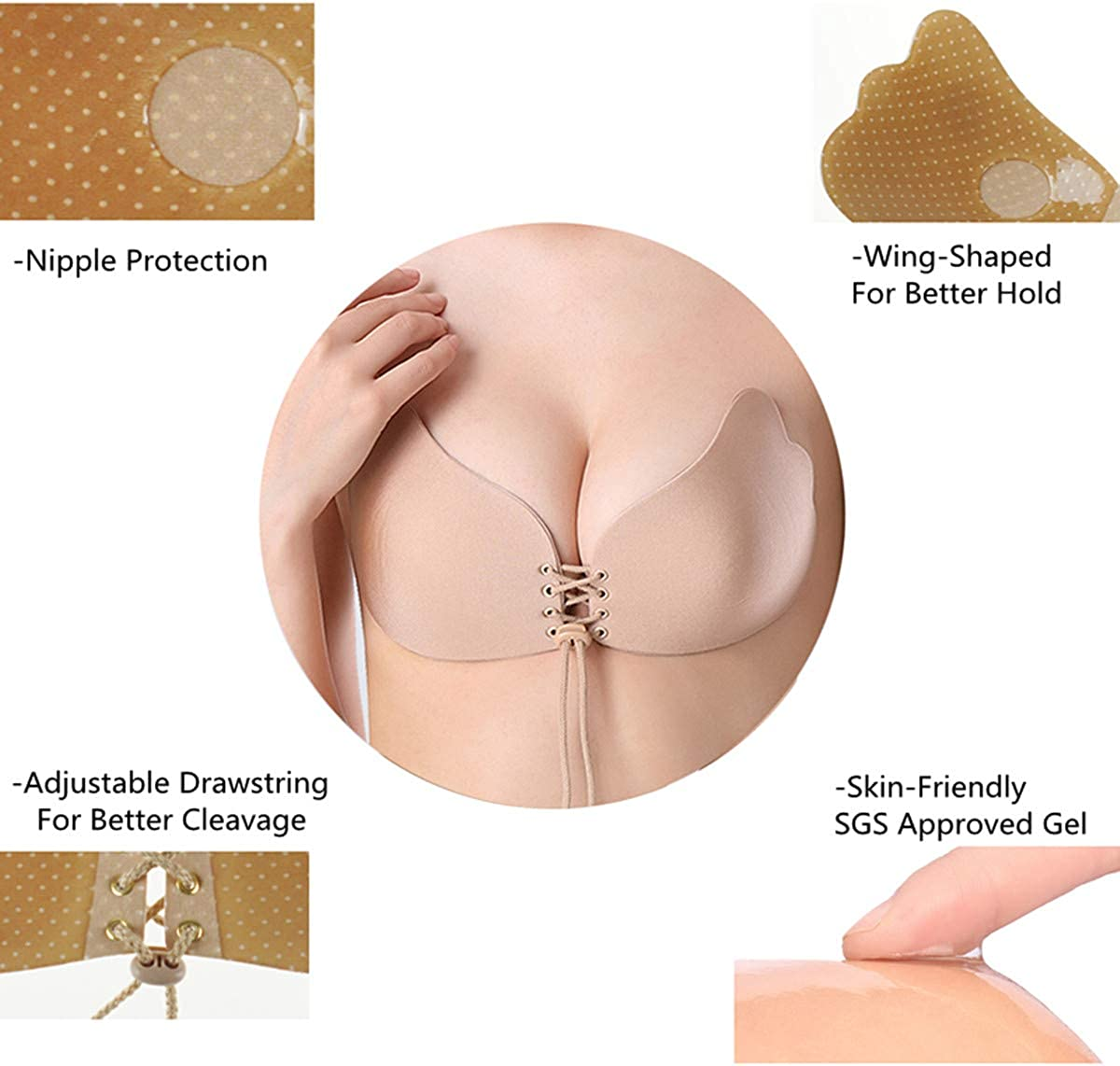 Aublary Strapless Sticky Bra Backless Self Adhesive Push Up Bra Invisible Reusable Stickee Bra