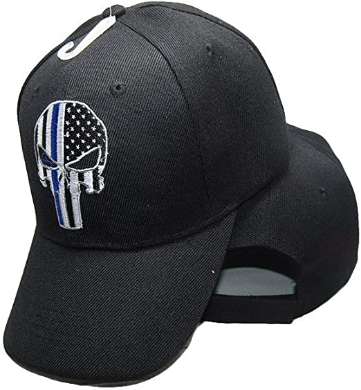 Punisher Skull Thin Blue Line USA flag Posse Comitatus Adult One-Size Cap Hat