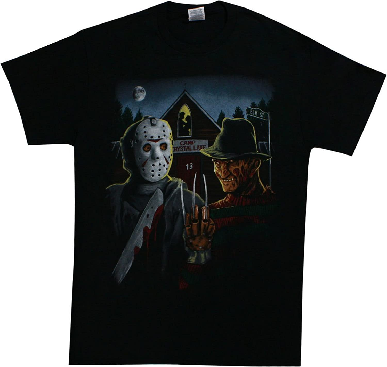 Changes Freddy Krueger And Jason Mens American Gothic Parody T Shirt Black