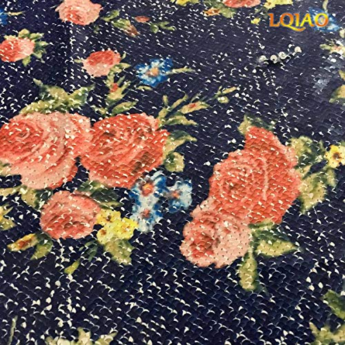 (LQIAO Sequin Fabri Mermaid Print Rose Flower Reversible Spandex 2 Tone Flip UP Mesh Lace Sequin Fabric Magic Overlapping Sequin for Girl Costume Dress/Lady Evening Dress Pillow Cushion Cover Wedding)