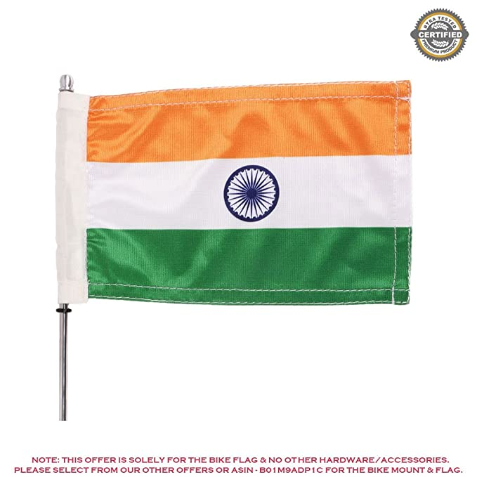 The Flag Shop Indian National Bike/Motorcycle Flag of Size 6