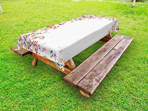 Ambesonne Music Outdoor Tablecloth, Colorful Musical Notes with Frame Festival Singing Enjoyment Fashion Themed Print, Decorative Washable Picnic Table Cloth, 58