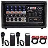 Package: Peavey PV5300 200 Watt 5-Channel Powered Live Sound Mixer + (2) Rockville RMC-XLR High-End Metal DJ Handheld Wired Microphone Mic w (2) Cables+ (2) RCXFM20E-B Black 20 Ft Female to Male XLR M