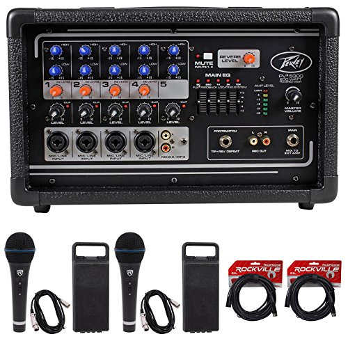 Package: Peavey PV5300 200 Watt 5-Channel Powered Live Sound Mixer + (2) Rockville RMC-XLR High-End Metal DJ Handheld Wired Microphone Mic w (2) Cables+ (2) RCXFM20E-B Black 20 Ft Female to Male XLR M by Peavey