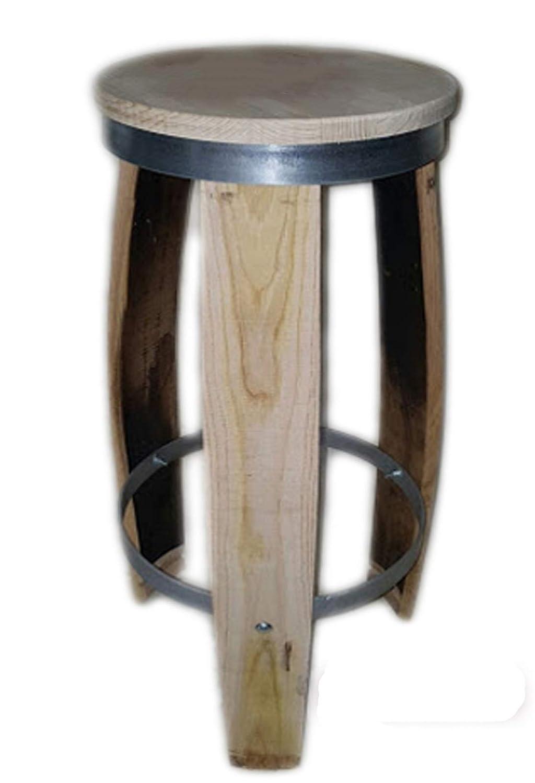 Elymostore Hocker Latten Fass aus Eiche von 71 cm mit Kreis aus Eisen mit 4 mm mod 7