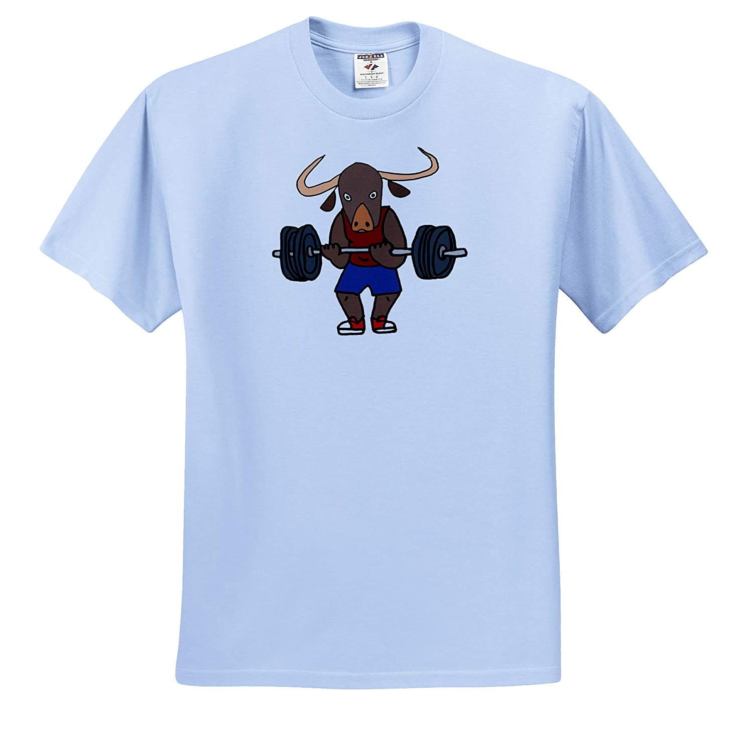 Sports and Hobbies T-Shirts 3dRose All Smiles Art Funny Cute Strong Ox Bodybuilder Lifting Weights Cartoon