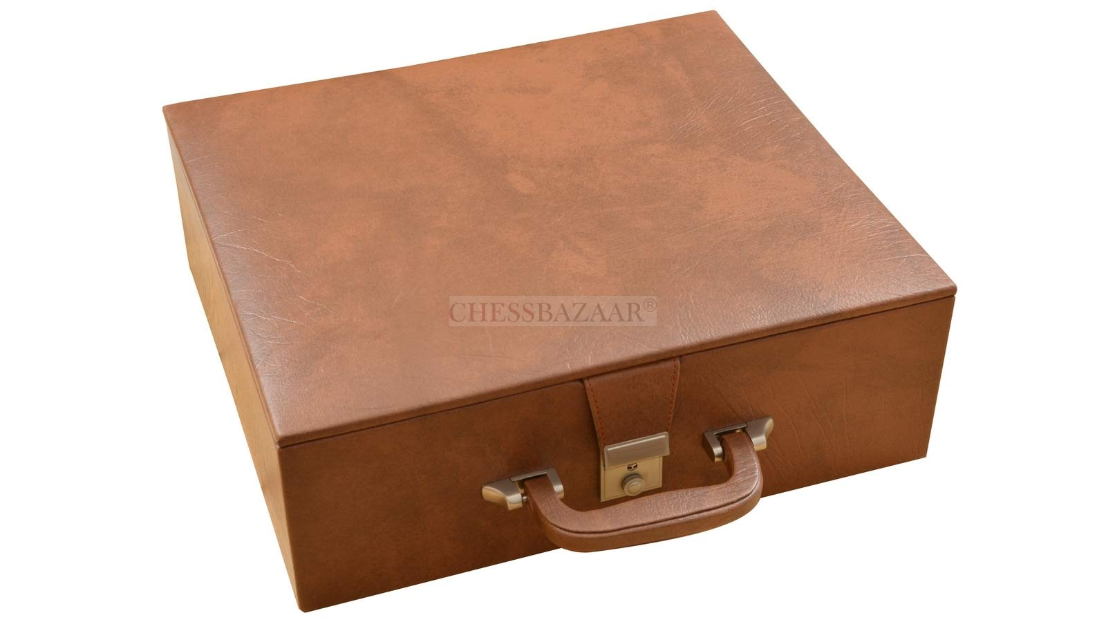 Brown Leatherette Chess Set Storage Box Coffer with Double Tray Fixed Slots for 4.2'' - 4.8'' Pieces