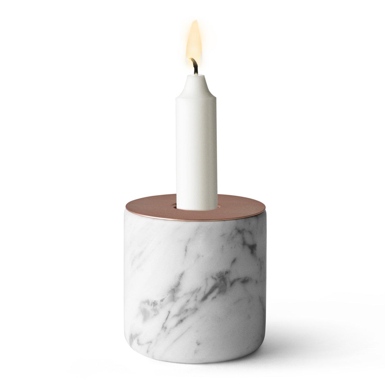 Menu 5611059 Kerzenständer Chunk of Marmor, L, Höhe 9 cm, Durchmesser 8 cm, kupfer