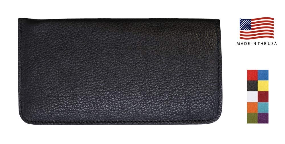 Black Genuine Leather Eyeglass Case Soft – Prime Gifts for Men and Women - Made in USA by Real Leather Creations FBA622
