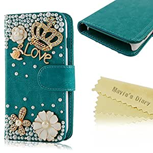 Mavis's Diary for LG Optimus L90 Bling Crystal Crown Rhinestone Flower Pearl Diamond Design Sparkle Glitter Leather Wallet Type Magnet Clasp Stand Up Flip Case Cover with Soft Clean Cloth (Blue)