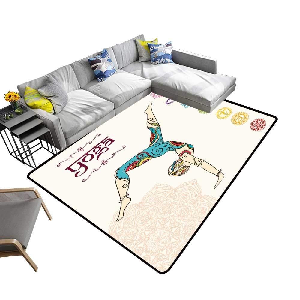 Amazon.com: alsohome Contemporary Synthetic Rug Yoga Stain ...