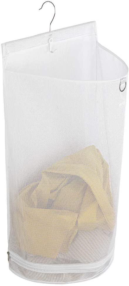 ALYER Hanging Semi Round Storage Mesh Bag,Collapsible Laundry Hamper Basket with Durable Hanger (White)