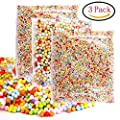 DREAMZE Styrofoam Foam Balls 0.08-0.32 Inch Colorful Arts Craft Ball Beads for Slime or Decorative Crafts (3 Pack)