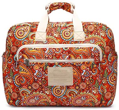 65897862b5 Malirona Women s Canvas Overnight Weekender Bag Carry On Travel Duffel Tote Bag  Bohemian Flower (Red Flower)