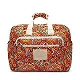Malirona Women's Canvas Overnight Weekender Bag Carry On Travel Duffel Tote Bag Bohemian Flower (Red Flower)