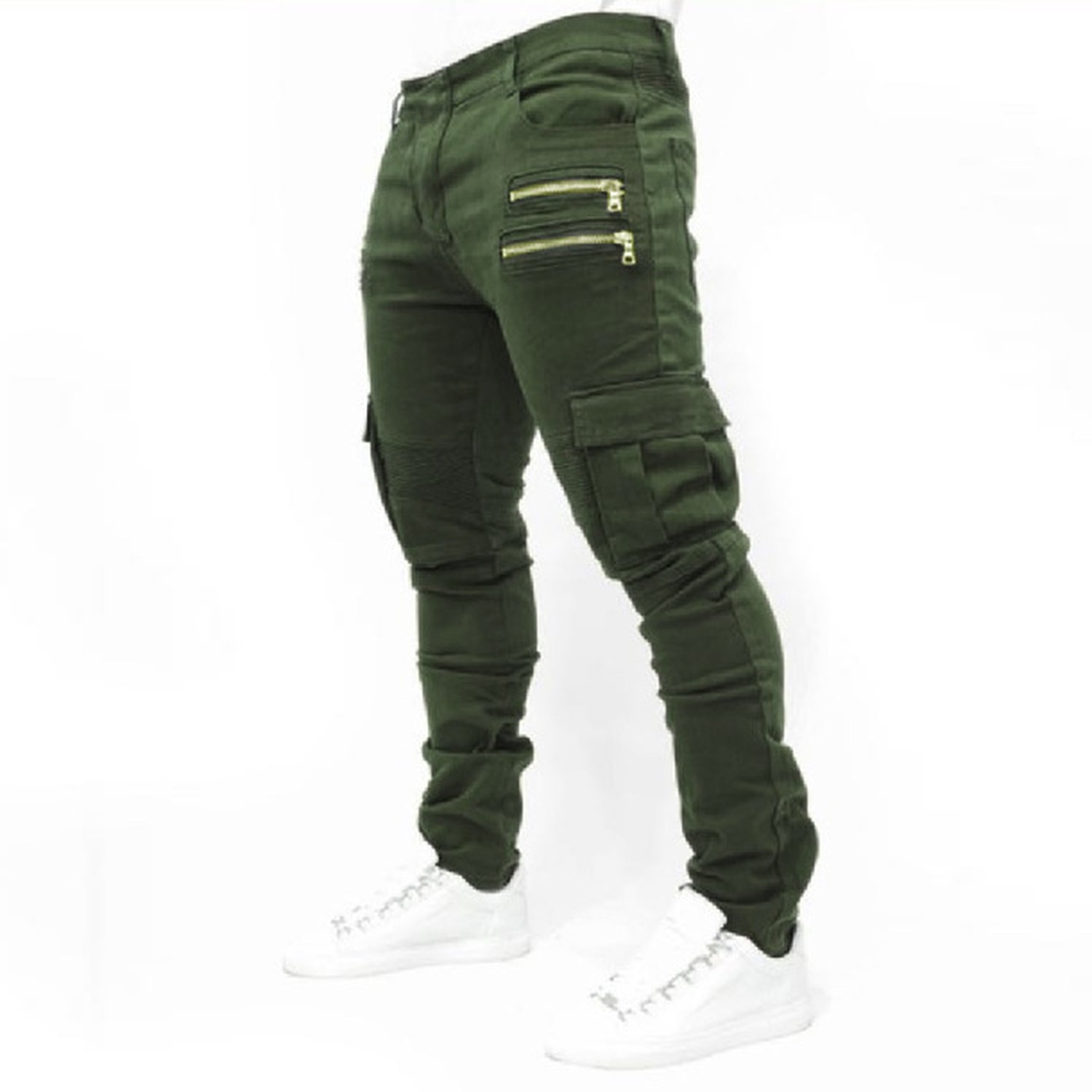 Men's Trousers Wish Men's Folding Elastic Jeans Cotton spot Trousers,Green,L