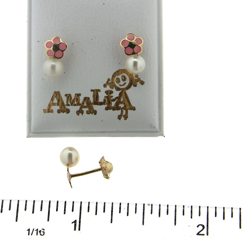 18k yellow gold pink enamel and Cultivated Pearl flower screwback earrings 4 mm Cultivated Pearl , 4 mm, flower 0.16 inches